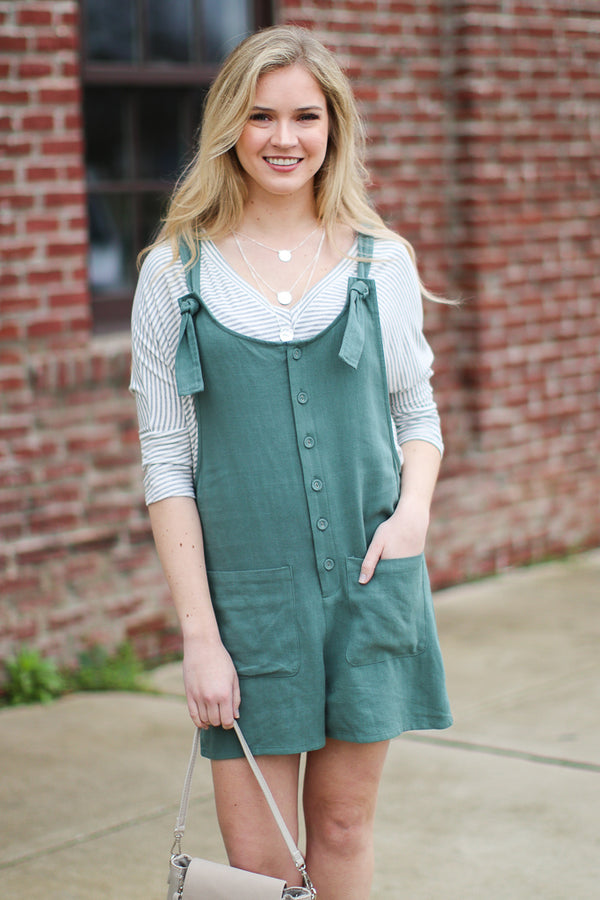 S / Sage Simple Idea Button Up Romper - Madison + Mallory