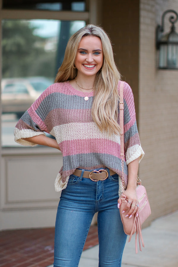 S / Dusty Pink Imagine That Colorblock Knit Sweater - Madison + Mallory