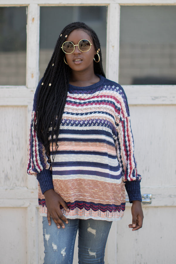S / Navy Dalary Striped Sweater - Madison + Mallory