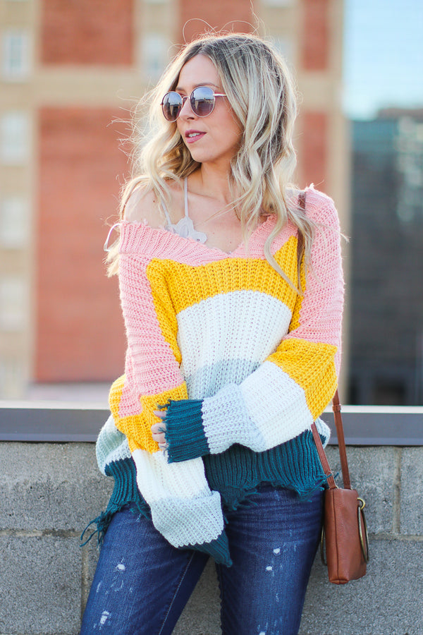 S / Multi Graham Frayed Color Block Sweater - Madison + Mallory