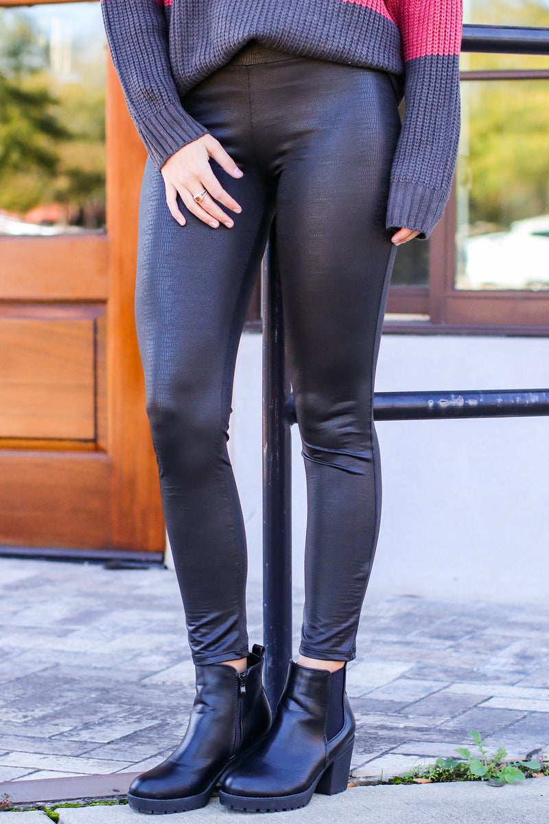 Top Story High Rise Faux Leather Leggings | CURVE - Madison and Mallory