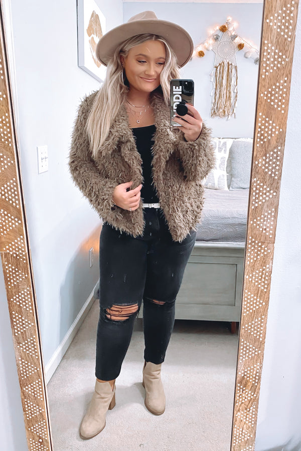 Count Me In Faux Fur Teddy Jacket - FINAL SALE - Madison and Mallory