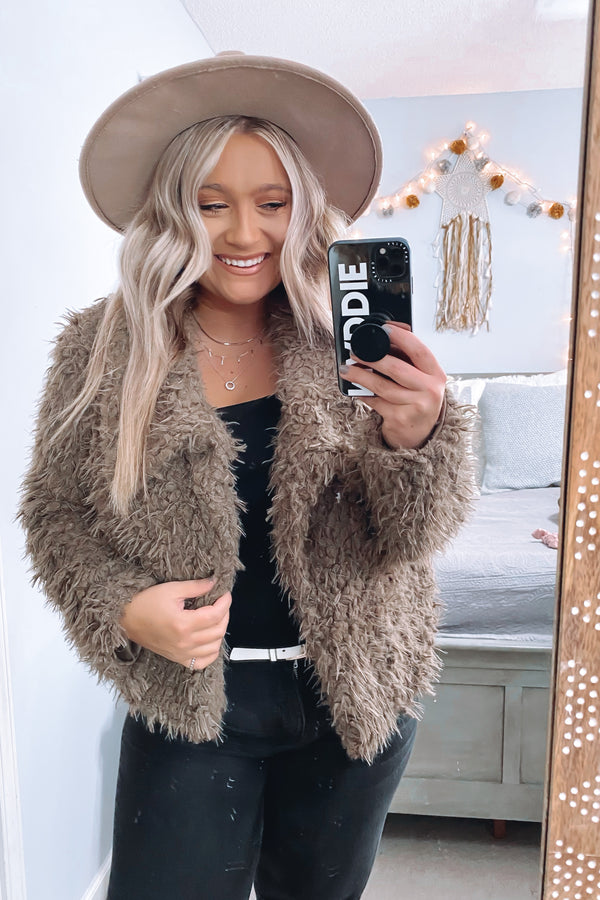 S / Toffee Count Me In Faux Fur Teddy Jacket - FINAL SALE - Madison and Mallory