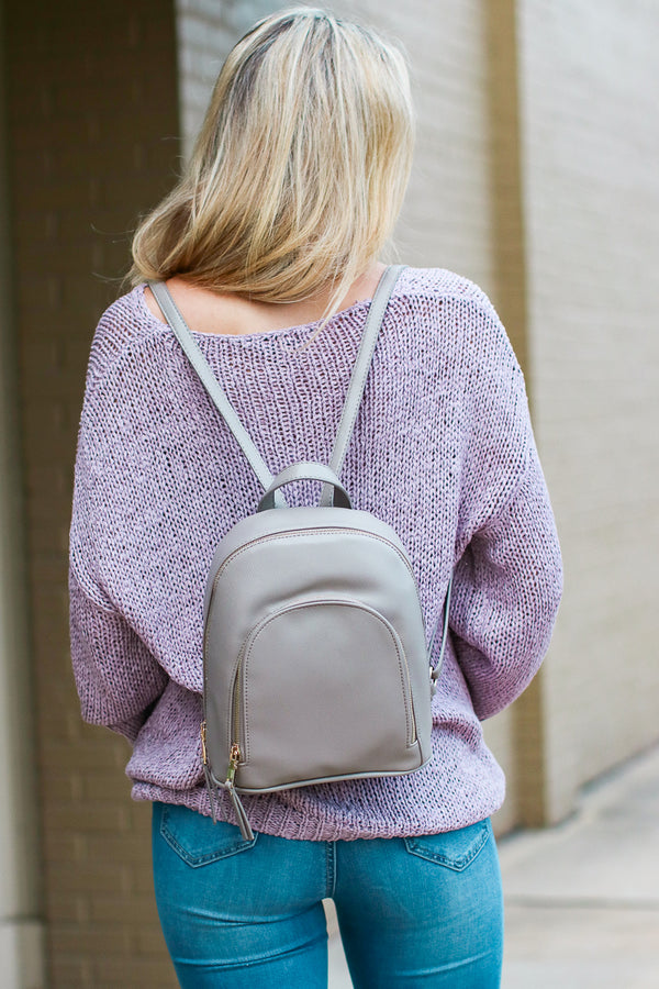 Gray Vera Faux Leather Backpack - Gray - Madison + Mallory