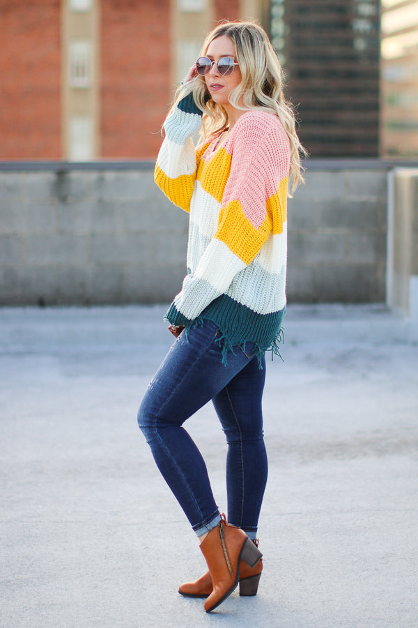 Graham Frayed Color Block Sweater - Madison + Mallory