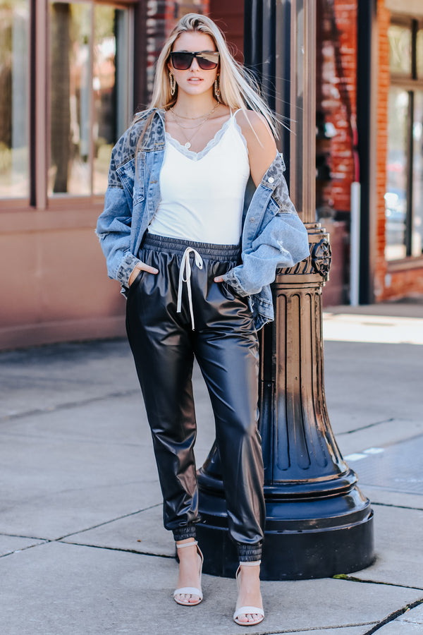 Calling the Shots Faux Leather Joggers - FINAL SALE - Madison and Mallory