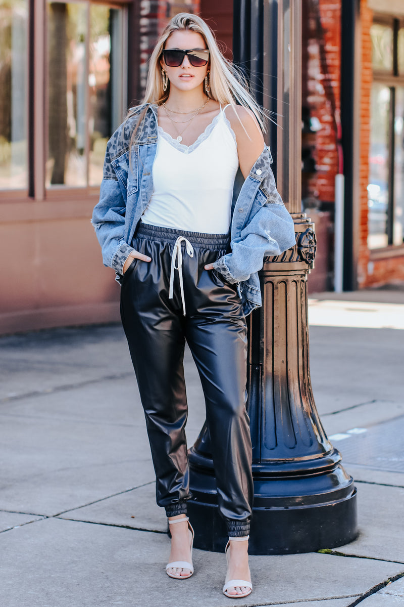 Calling the Shots Faux Leather Joggers - Madison and Mallory