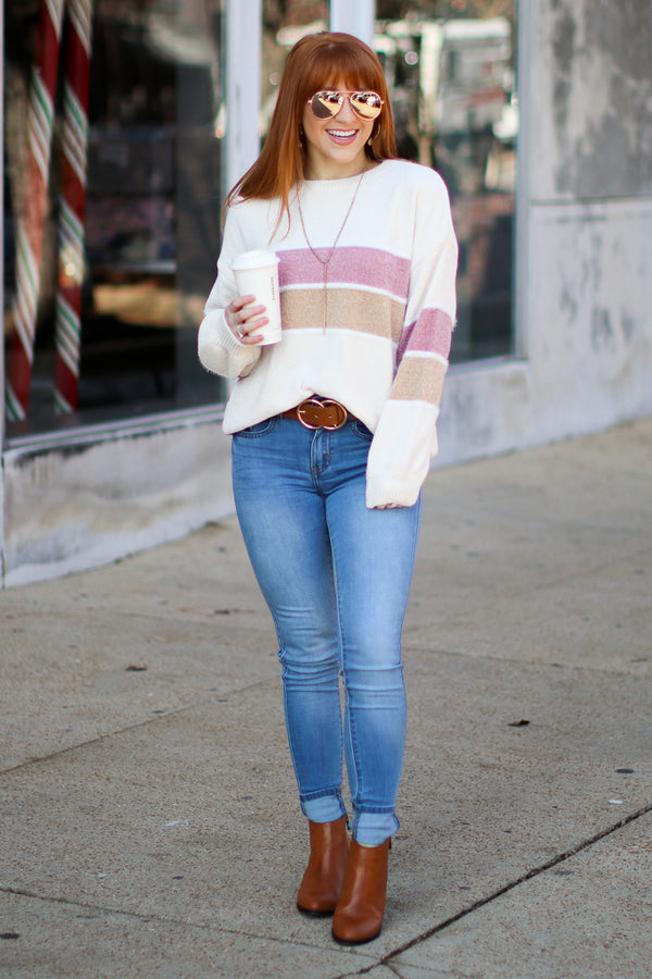 In This Moment Striped Color Block Sweater - Madison + Mallory