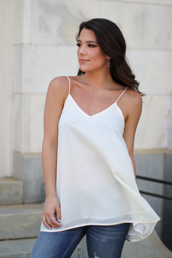 S / Cream Flowy Chiffon Tank Top - Madison + Mallory