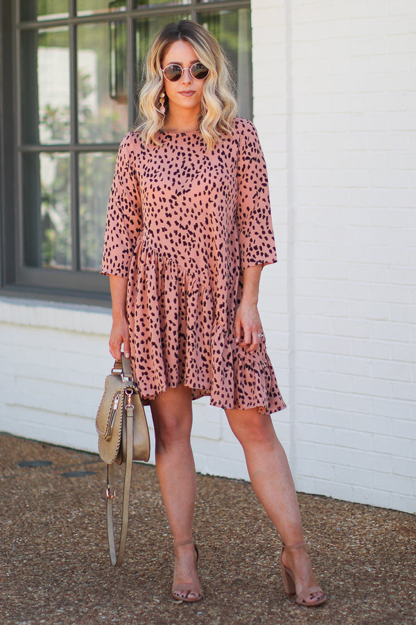 S / Salmon Marlessa Asymmetrical Dotted Swing Dress - Madison + Mallory