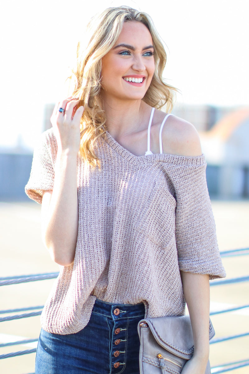 Latte / S Jannah V-Neck Knit Top - Latte - Madison + Mallory