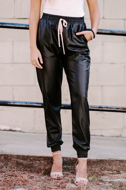 S / Black Calling the Shots Faux Leather Joggers - Madison and Mallory