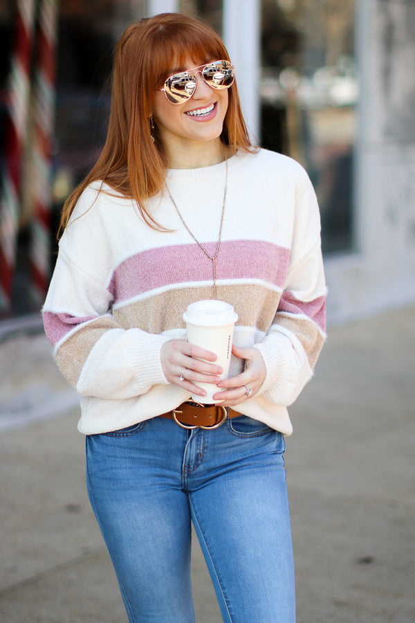 S / Oatmeal In This Moment Striped Color Block Sweater - Madison + Mallory
