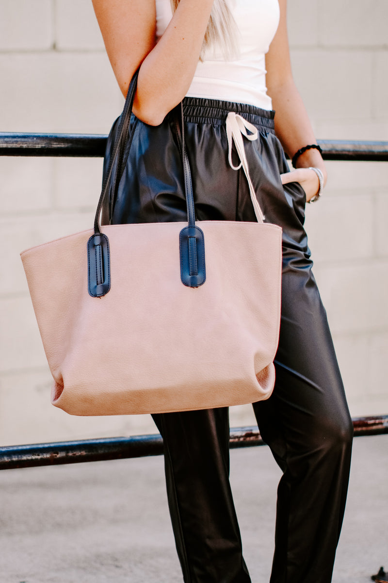 City Scene Faux Leather Tote Bag - Madison and Mallory