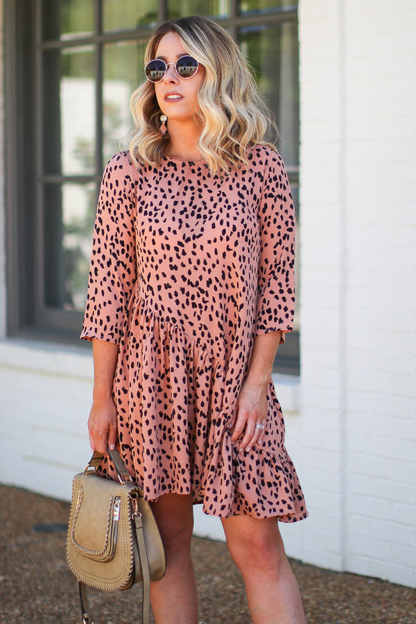 Marlessa Asymmetrical Dotted Swing Dress - Madison + Mallory