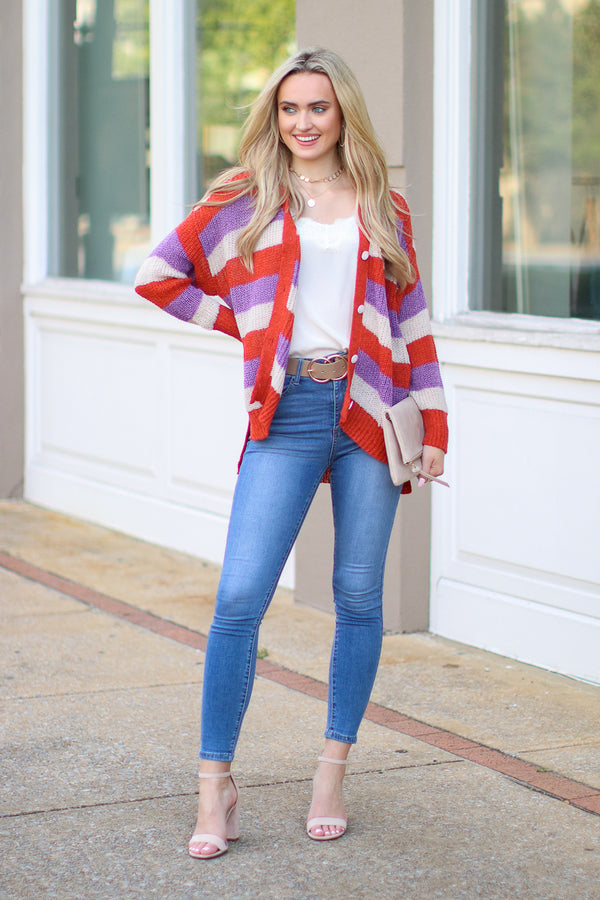 Tell Me Something Button Down Striped Cardigan Sweater - Rust - FINAL SALE - Madison and Mallory