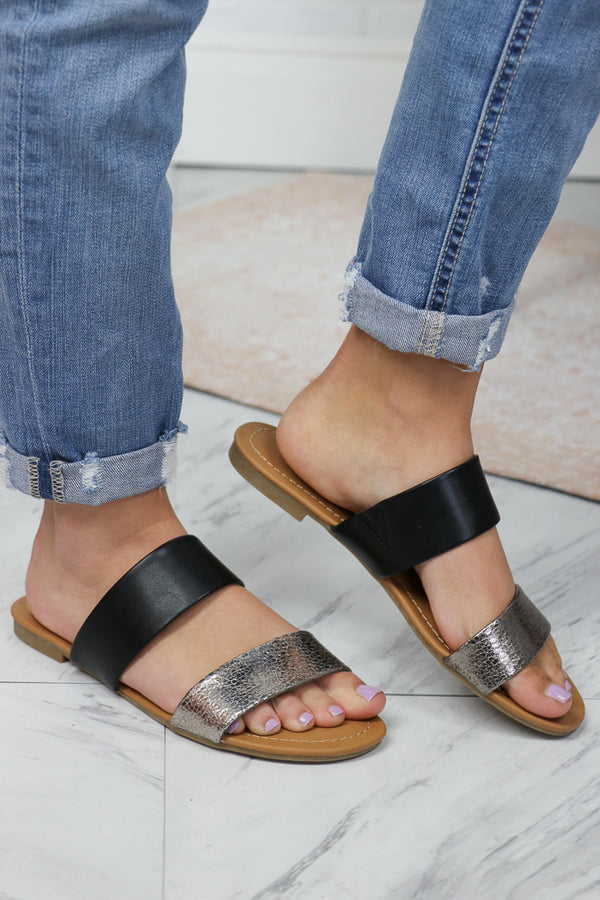 7 / Black/Pewter Mara Flats - Madison + Mallory