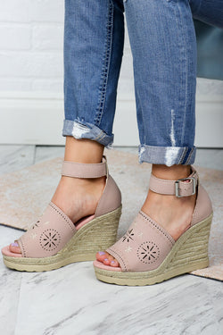 6 / Blush Eyelet Espadrille Wedges - Madison + Mallory