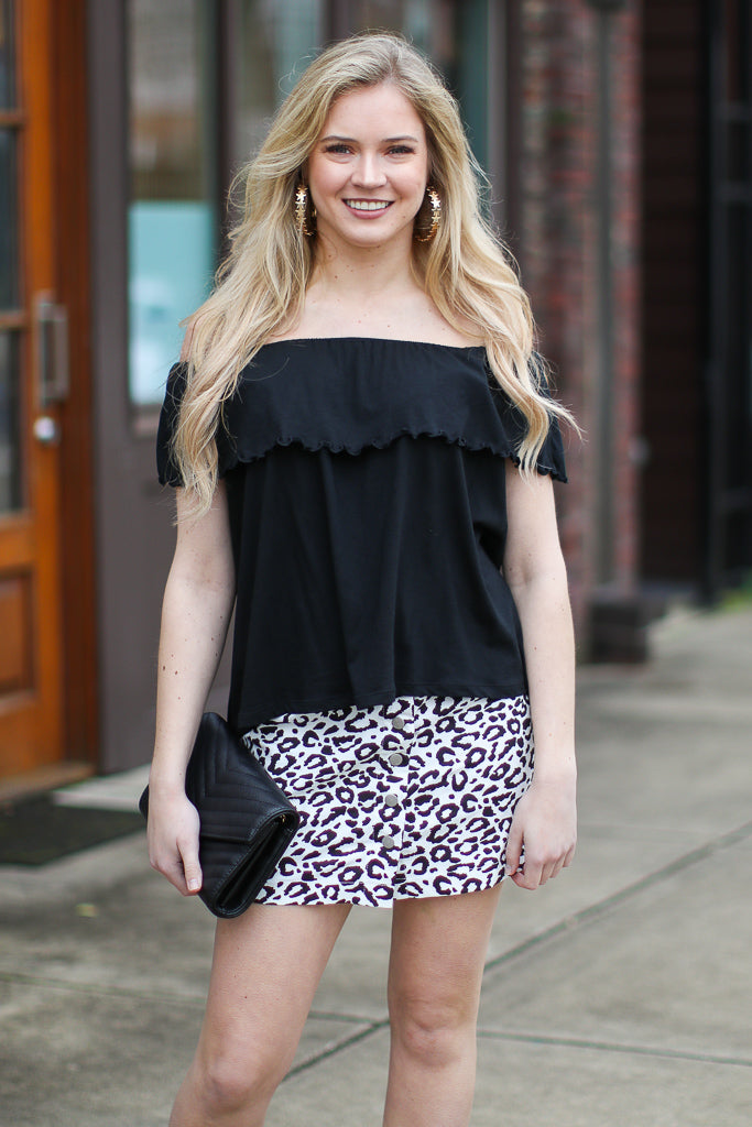 S / Black Gaston Off Shoulder Top - Madison + Mallory