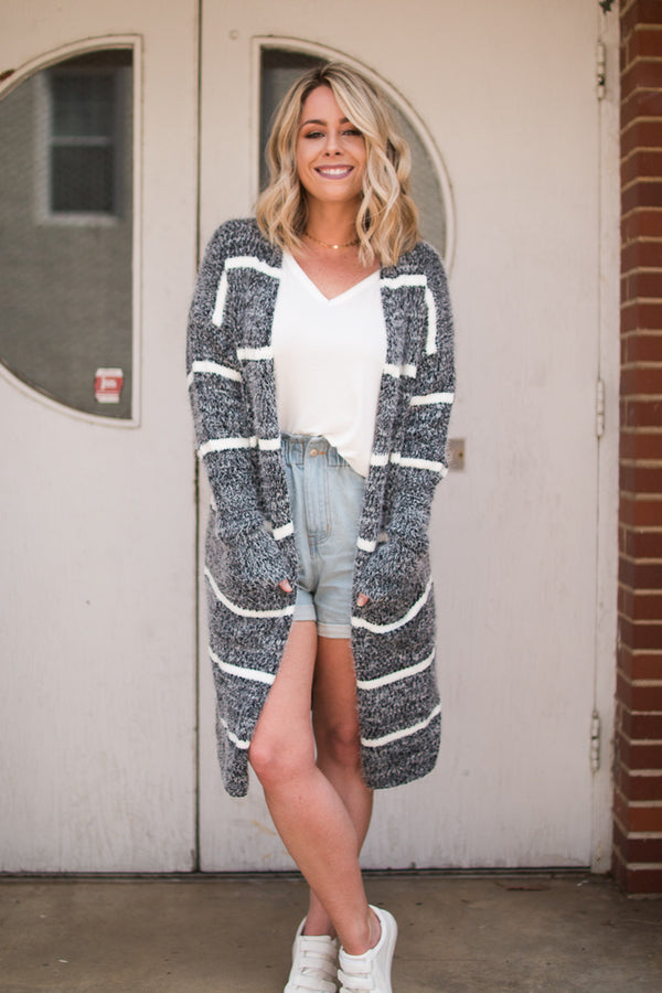 S / Oreo Fuzzy Knit Striped Cardigan - Madison + Mallory
