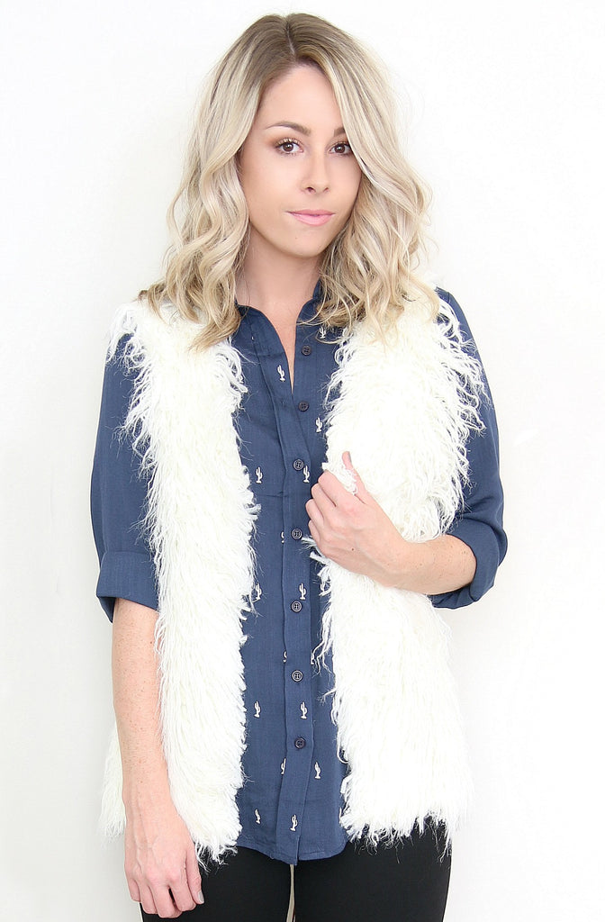Faux Fur Knit Back Vest
