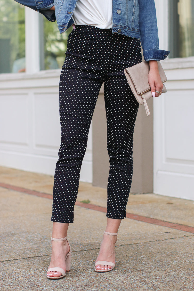 S / Black Polka Dot Pixie Pants - FINAL SALE - Madison and Mallory