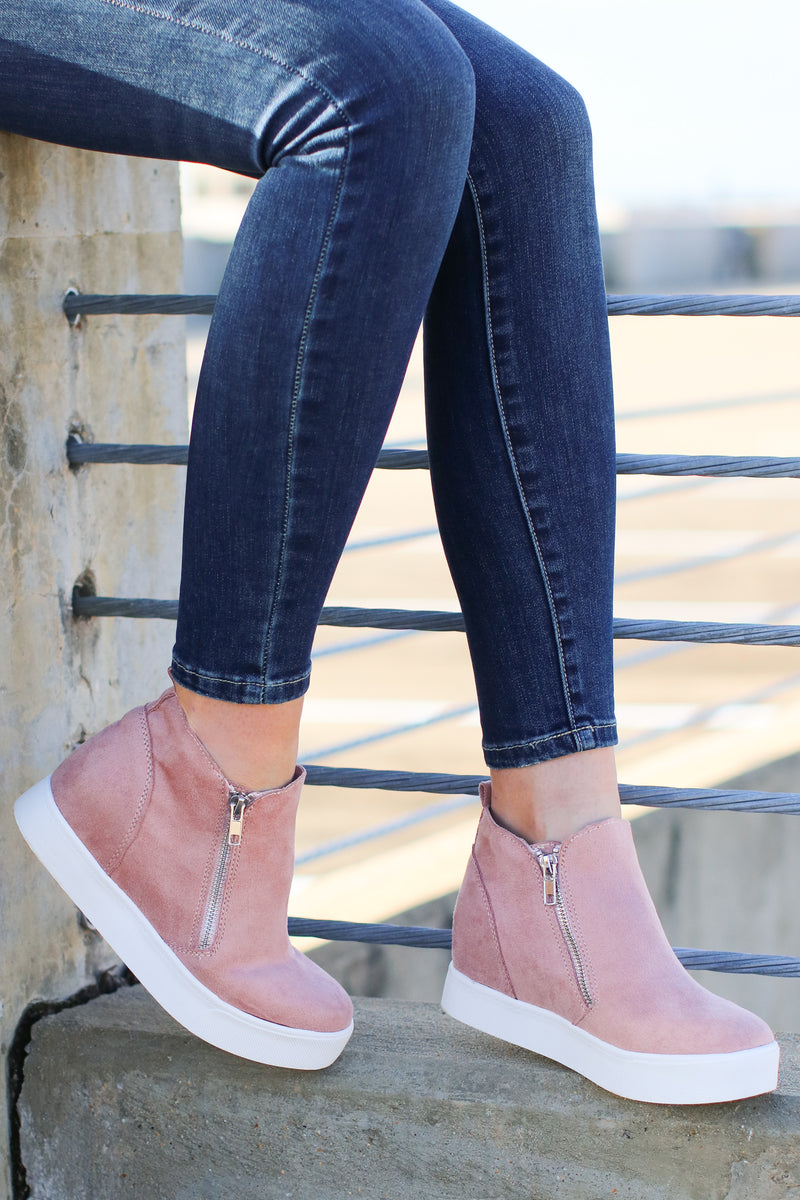 5.5 / Mauve Follow the Beat Wedge Sneakers - Mauve - Madison and Mallory