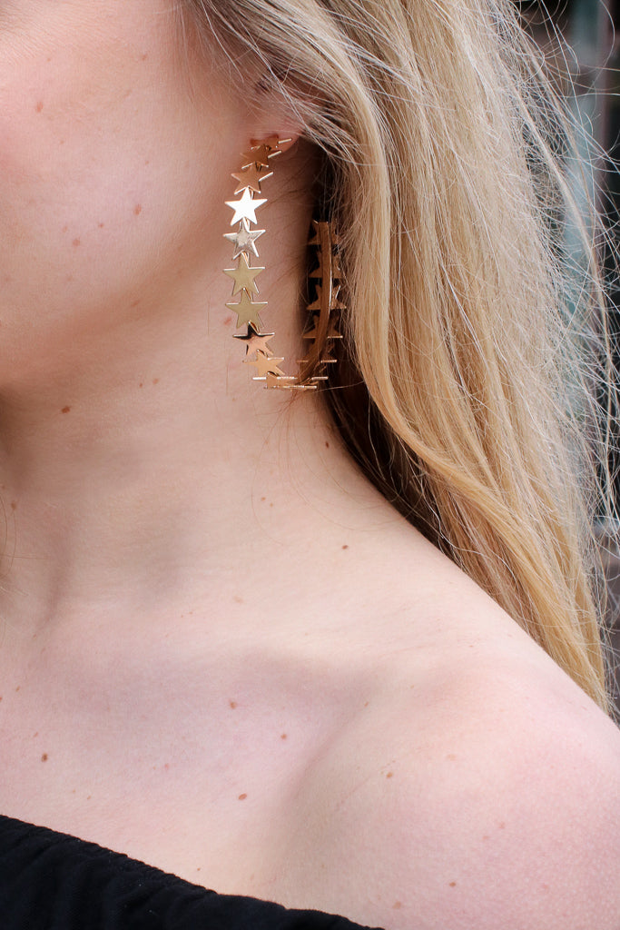 OS / Gold Starry Eyed Hoop Earrings + MORE COLORS - Madison + Mallory