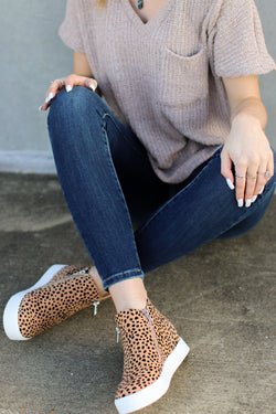 5.5 / Leopard Follow the Beat Wedge Sneakers - Leopard - Madison and Mallory