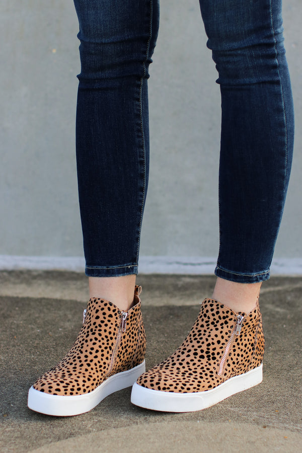 Follow the Beat Wedge Sneakers - Leopard - Madison + Mallory