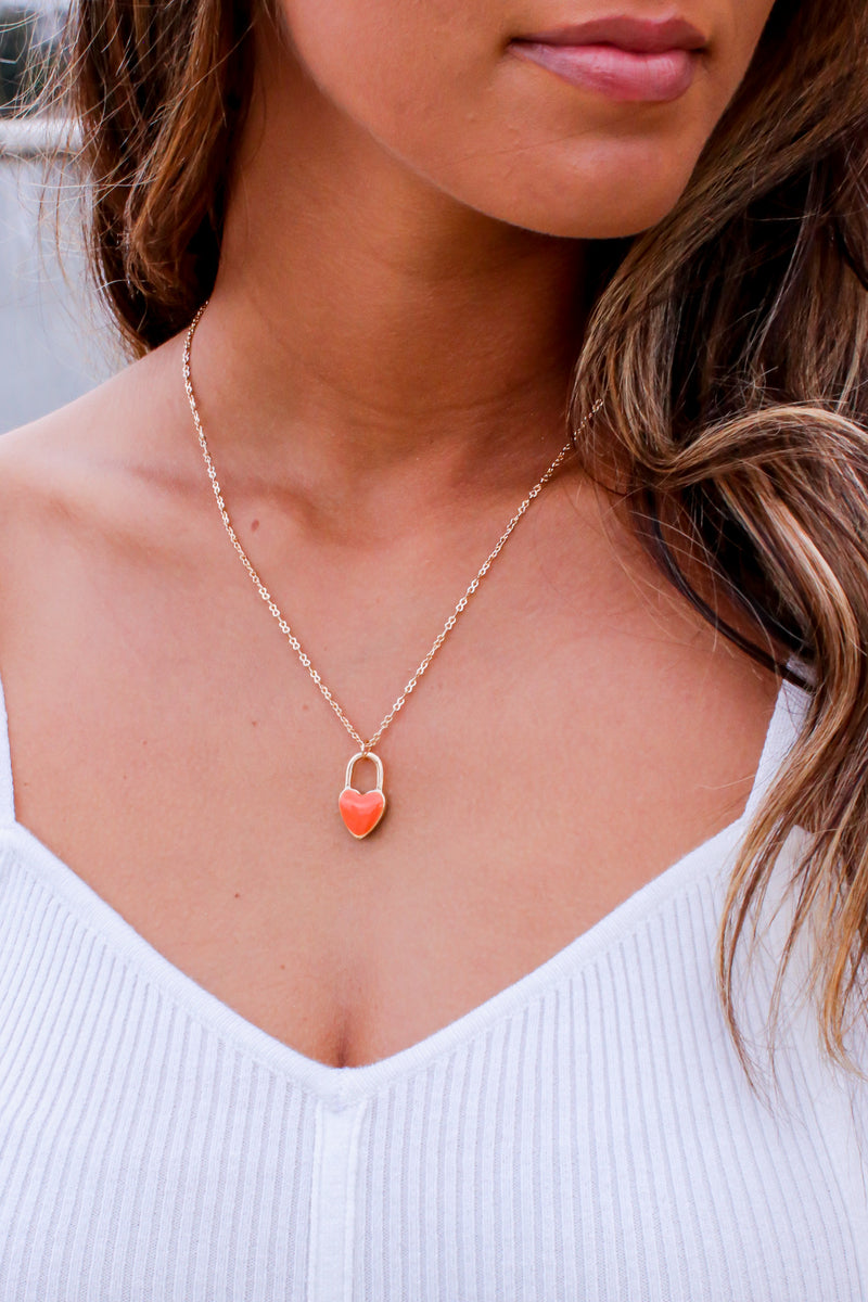 Gold Dearly Dainty Heart Charm Necklace - Madison and Mallory
