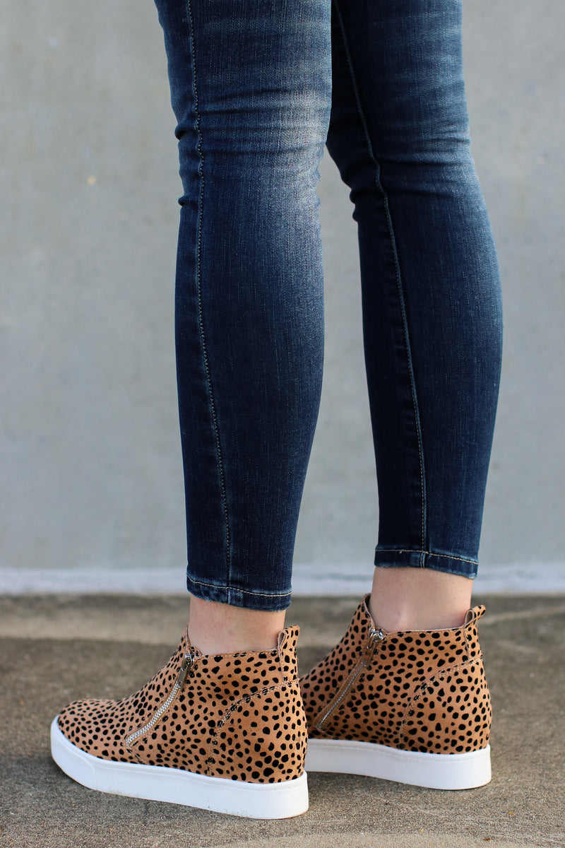 Follow the Beat Wedge Sneakers - Leopard - Madison and Mallory