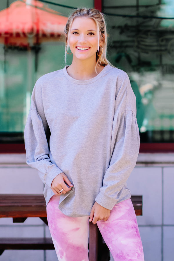 Heather Gray / S Elyria Puff Sleeve Sweatshirt - Madison and Mallory