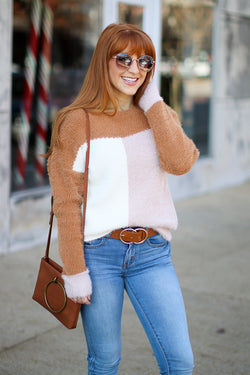 S / Camel Edge of Glory Color Block Sweater - Madison + Mallory