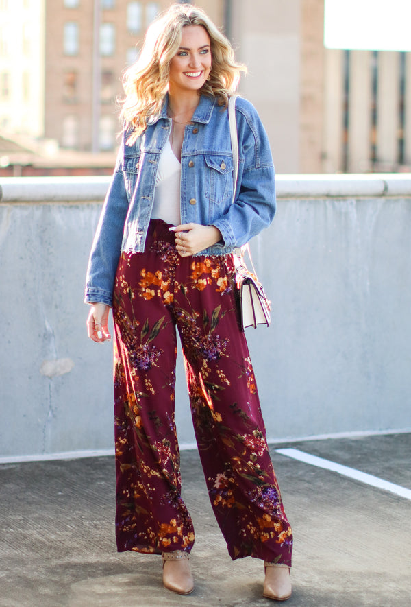 Covington Floral Wide Leg Pants - Madison and Mallory