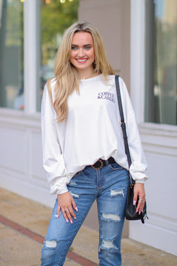 S / White Coffee & Cardio Graphic Pullover - Madison + Mallory