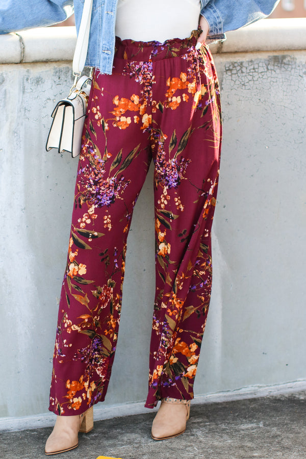 S / Eggplant Covington Floral Wide Leg Pants - Madison and Mallory