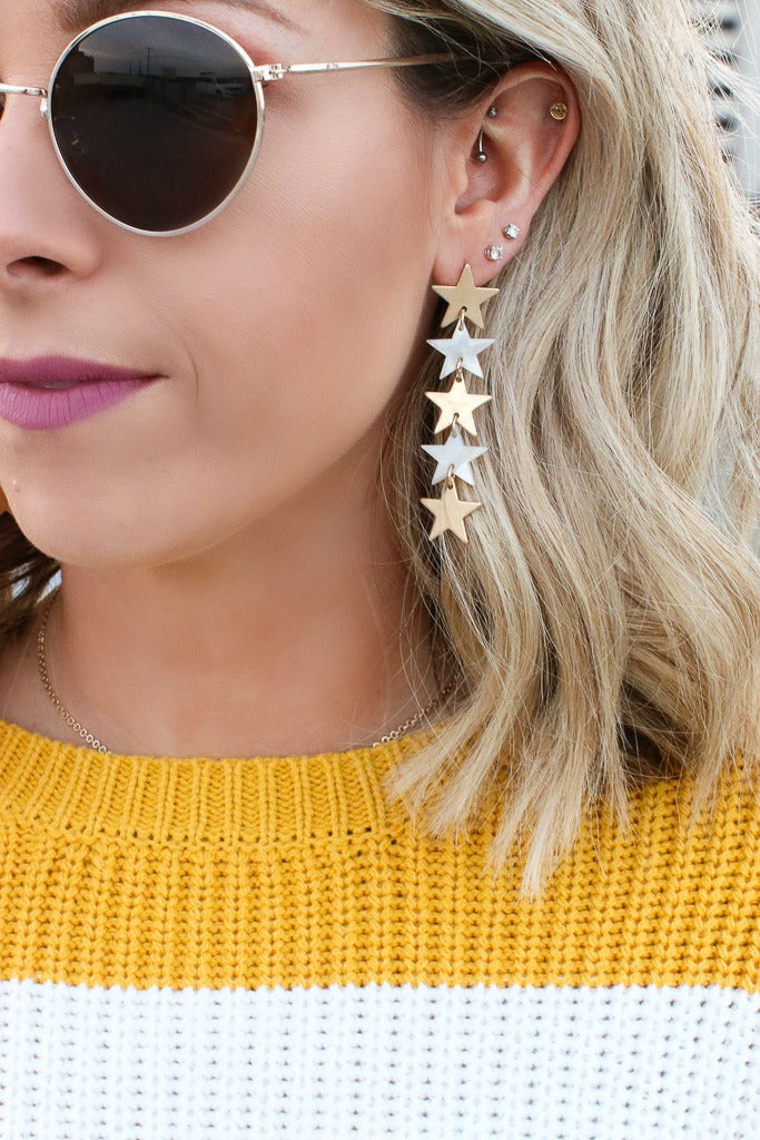 OS / Gold Rising Star Dangle Earrings - Madison + Mallory