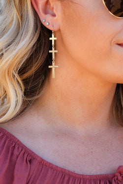 Gold Everything You Like Cross Drop Earrings - Madison + Mallory