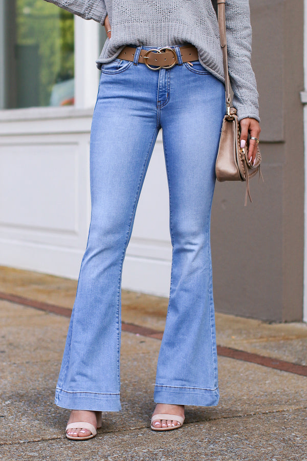 1/24 / Light With or Without You Flare Jeans - FINAL SALE - Madison and Mallory