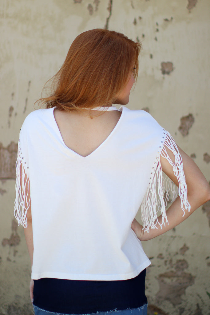 Frayed Sleeve Cutout Top - Madison + Mallory