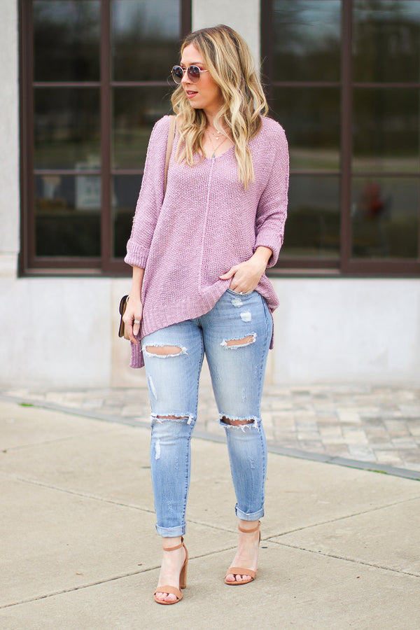 Lavender / SM Salem Knit High Low Top - Lavender - FINAL SALE - Madison + Mallory