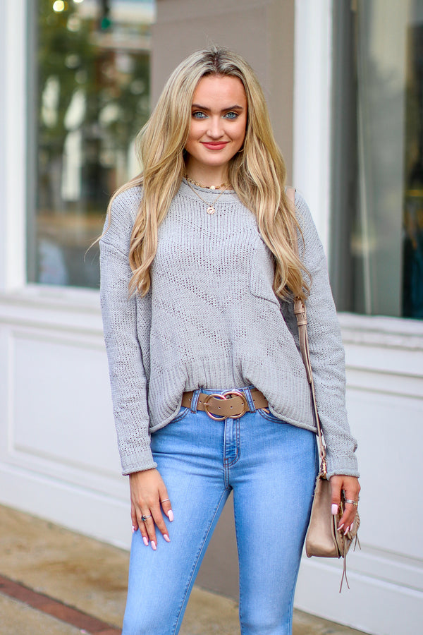 Gray / S Only Just Begun Pocket Sweater - Gray - Madison + Mallory