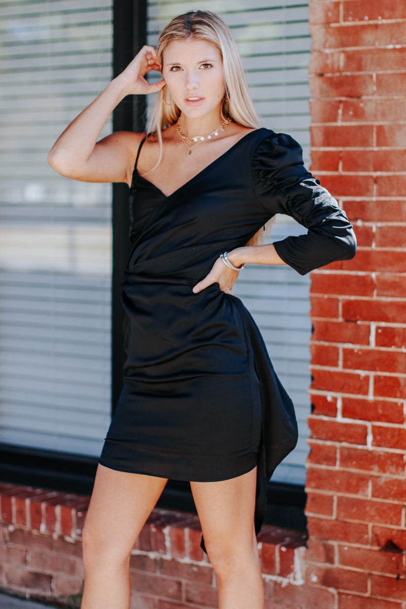 Stun of a Kind One Shoulder Ruched Dress - Madison and Mallory