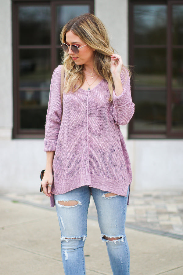 Salem Knit High Low Top - Lavender - FINAL SALE - Madison + Mallory