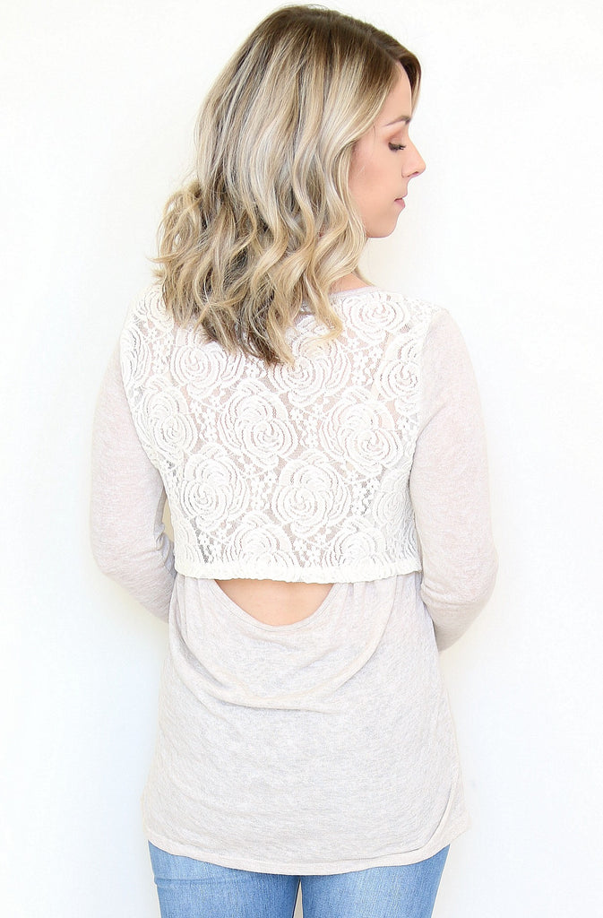 Lace Panel Cutout Back Top