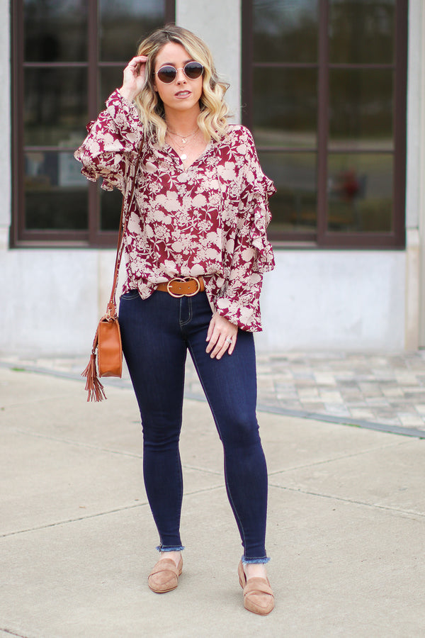 Blossoming Path Ruffle Floral Top - FINAL SALE - Madison + Mallory