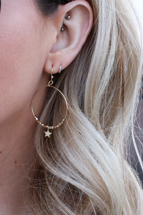 OS / Gold Cassiopea Star Earrings - Madison + Mallory