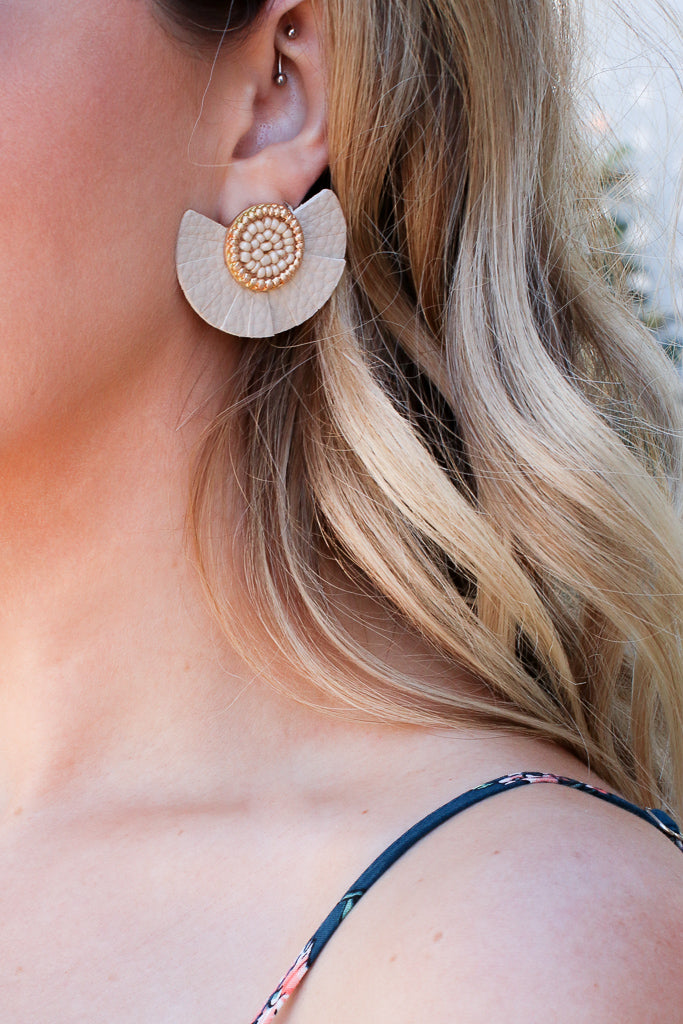 OS / Beige Melisande Beaded Fan Leather Earrings - Madison + Mallory