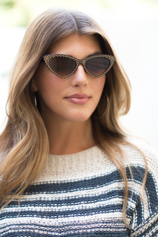 OS / Brown Sassy Cat Eye Sunglasses - Madison + Mallory